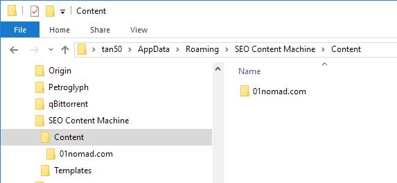SCM data folder